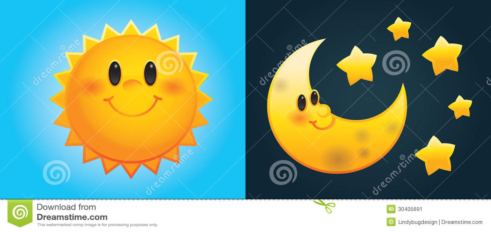 Sol e lua dos desenhos animados