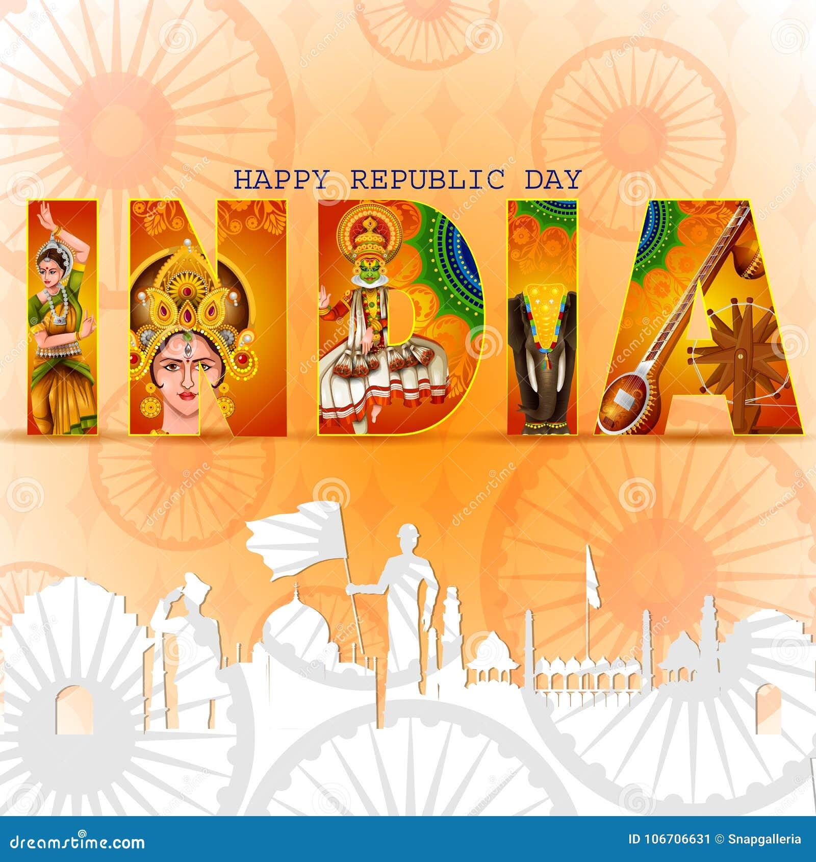Dia feliz da república do fundo tricolor da Índia para o 26 de janeiro