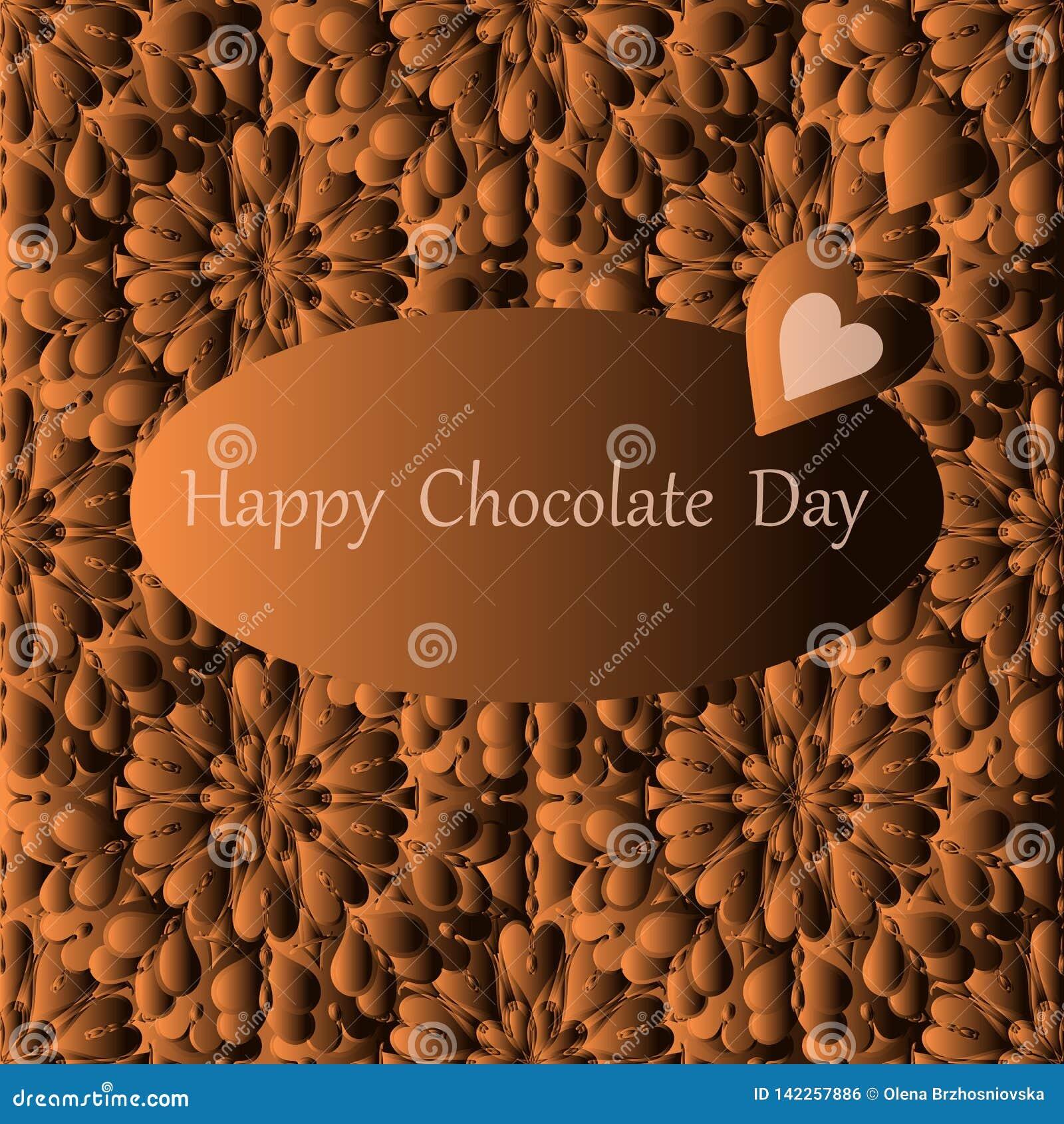 Dia feliz do chocolate, cartão do vetor