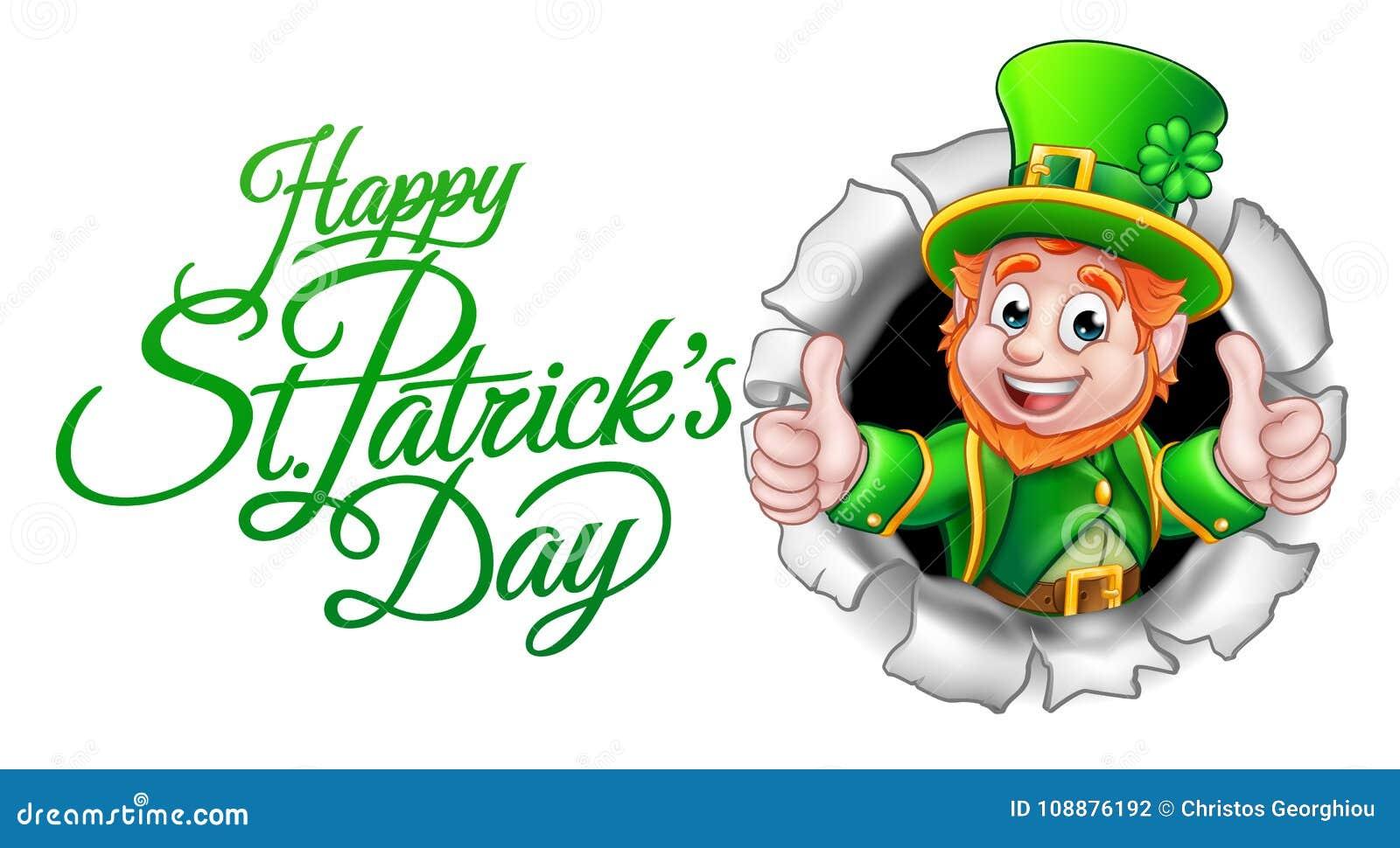 Dia feliz do St Patricks do duende dos desenhos animados
