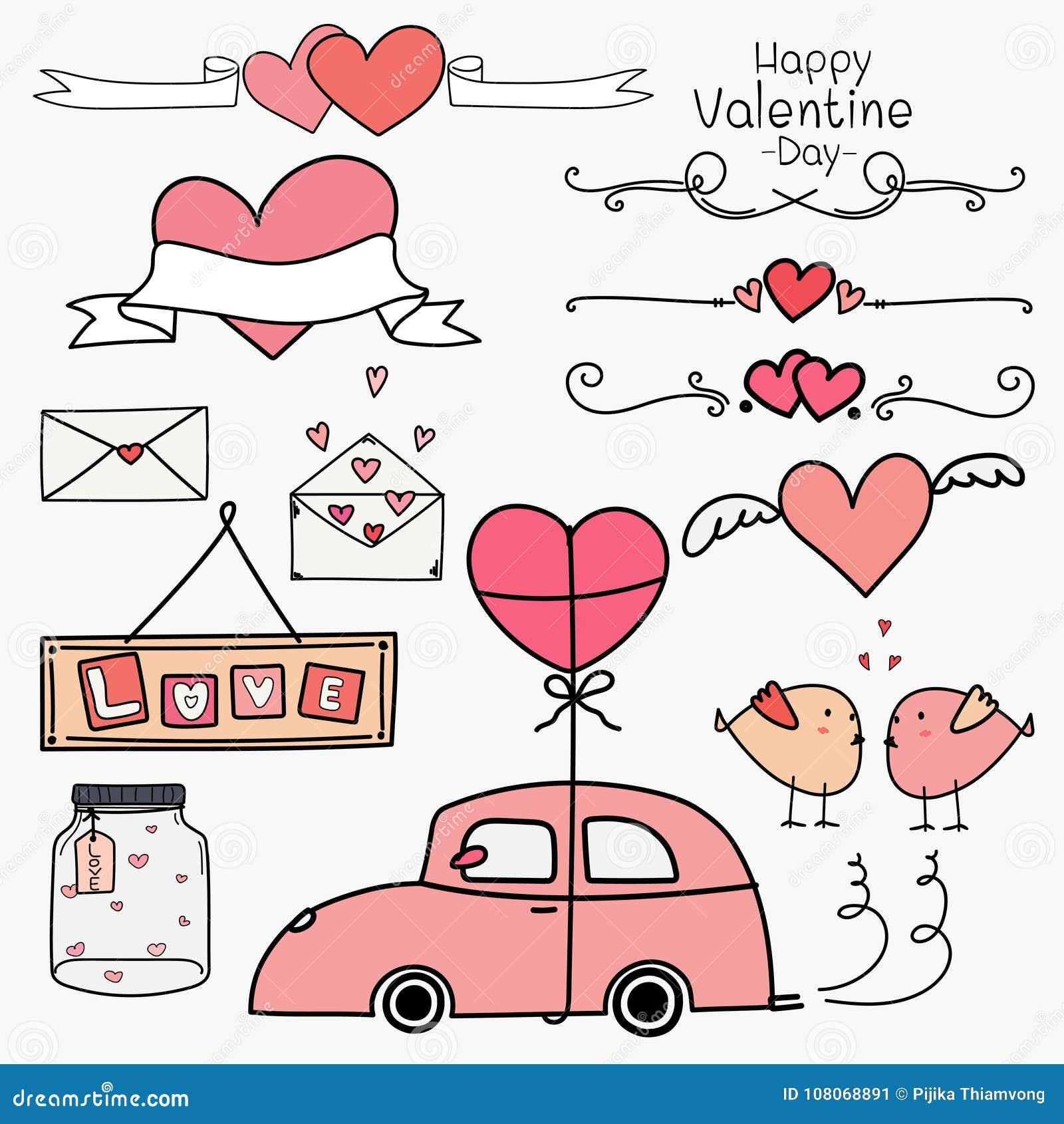 Dia feliz do Valentim Grupo de conceito cor-de-rosa dos elementos de Valentine Day Ornaments And Decorative da garatuja