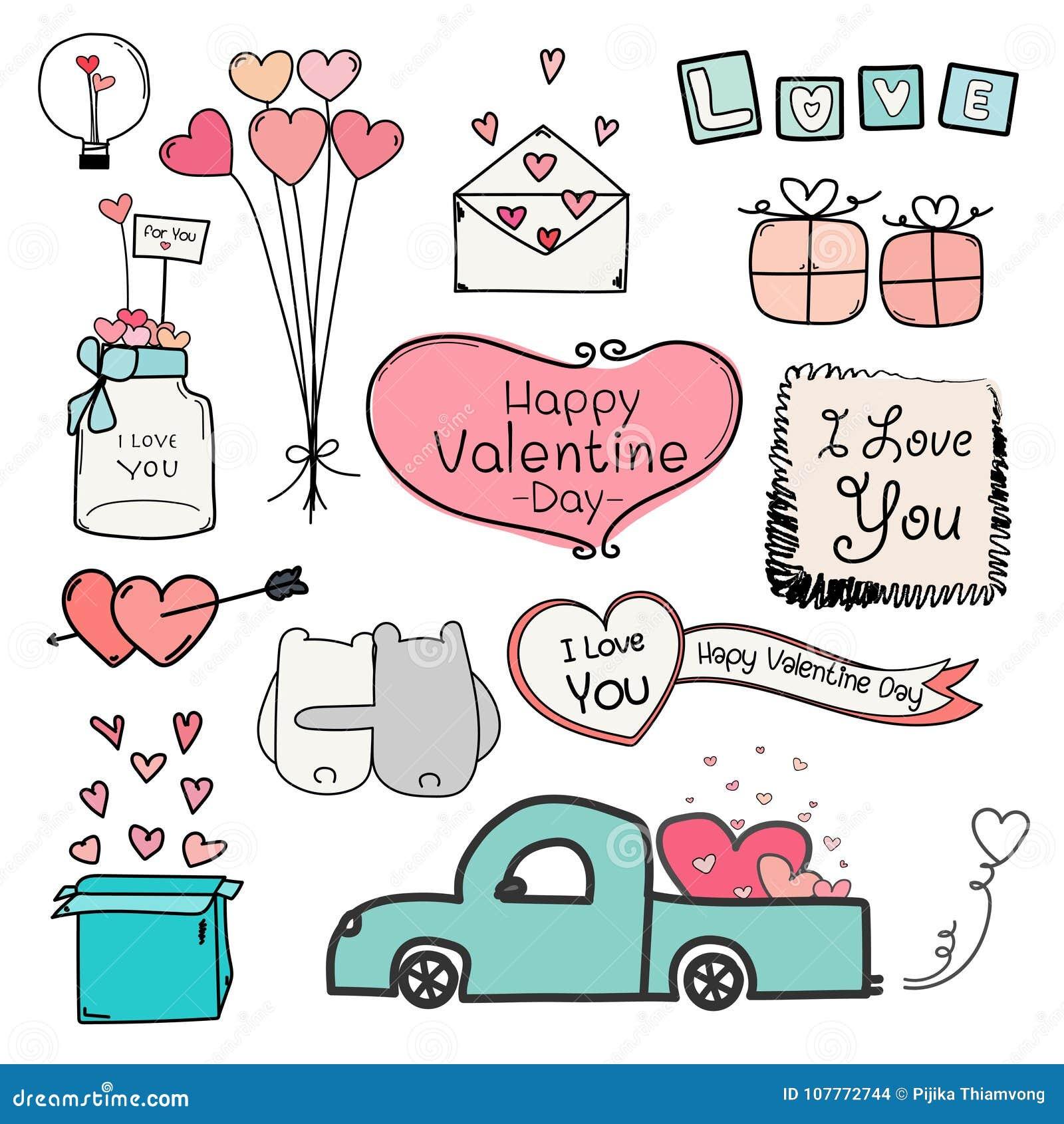 Dia feliz do Valentim Grupo de elementos de Valentine Day Labels And Typography da garatuja