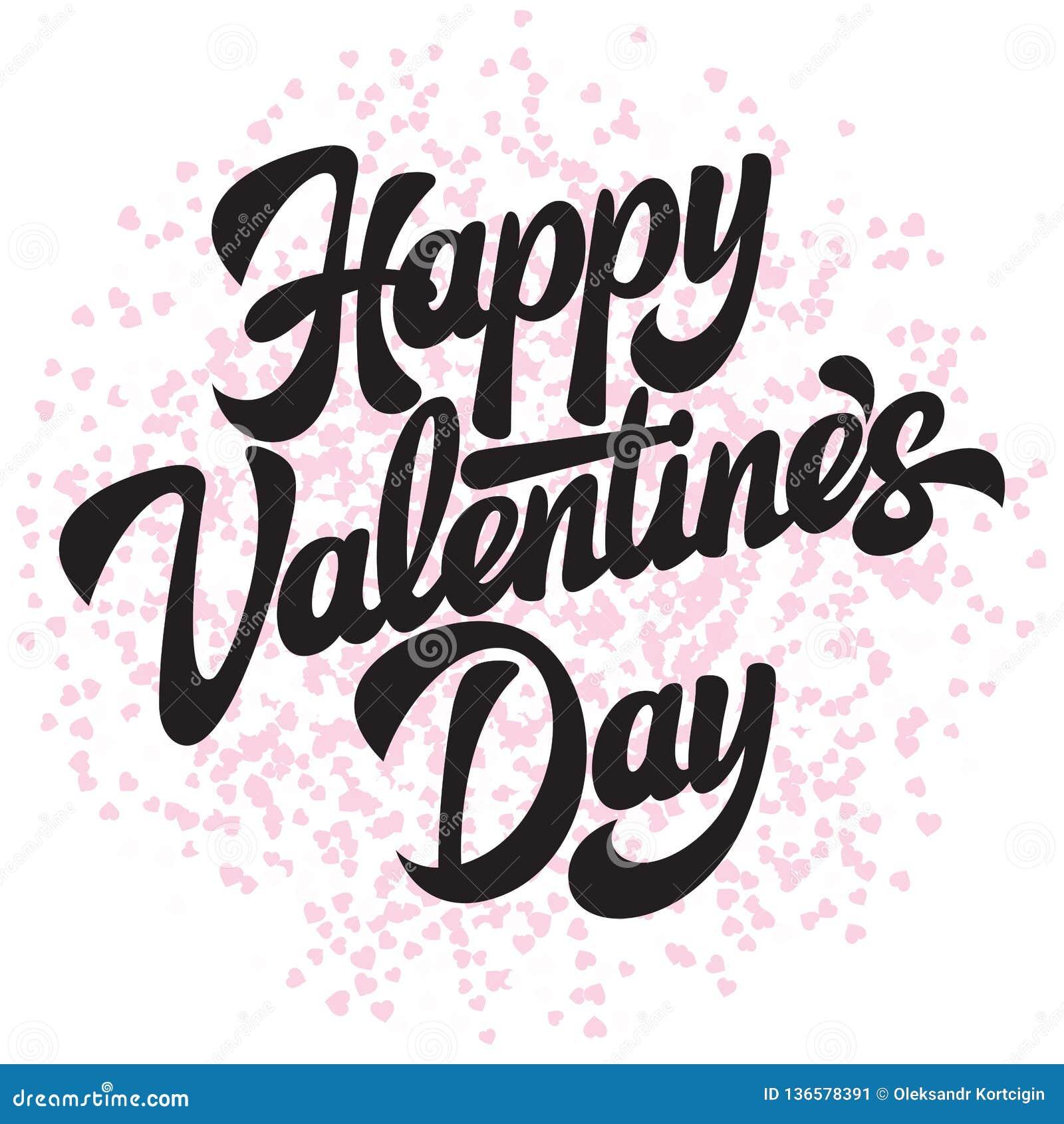 Dia feliz do Valentim s da inscrição à moda caligráfica do vetor com corações