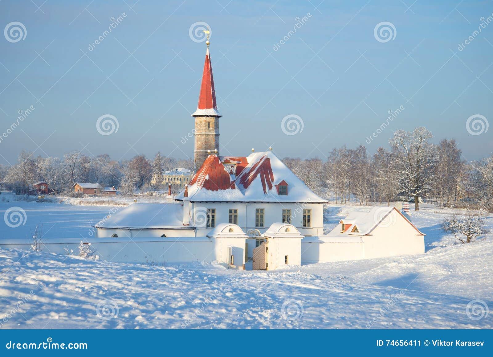 Dia frio de janeiro no palácio do convento Gatchina