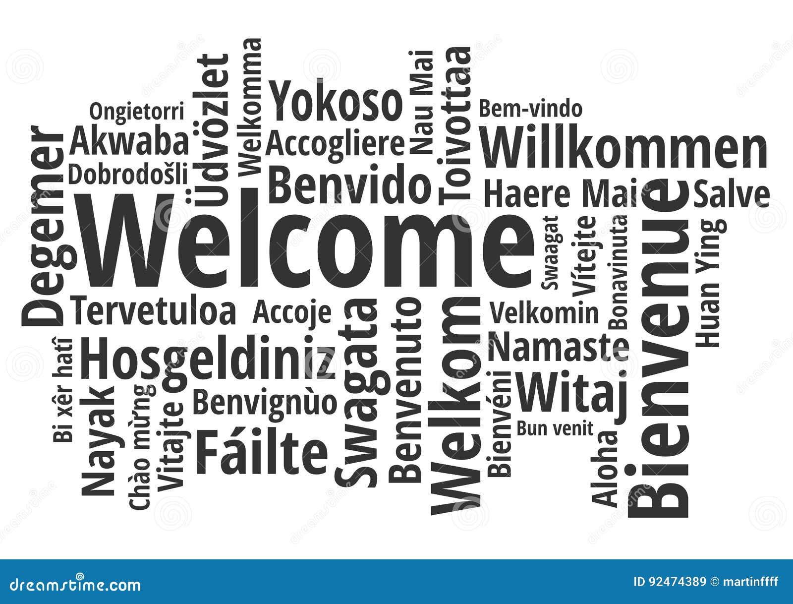 Dia il benvenuto a nel vettore differente del wordcloud di lingue