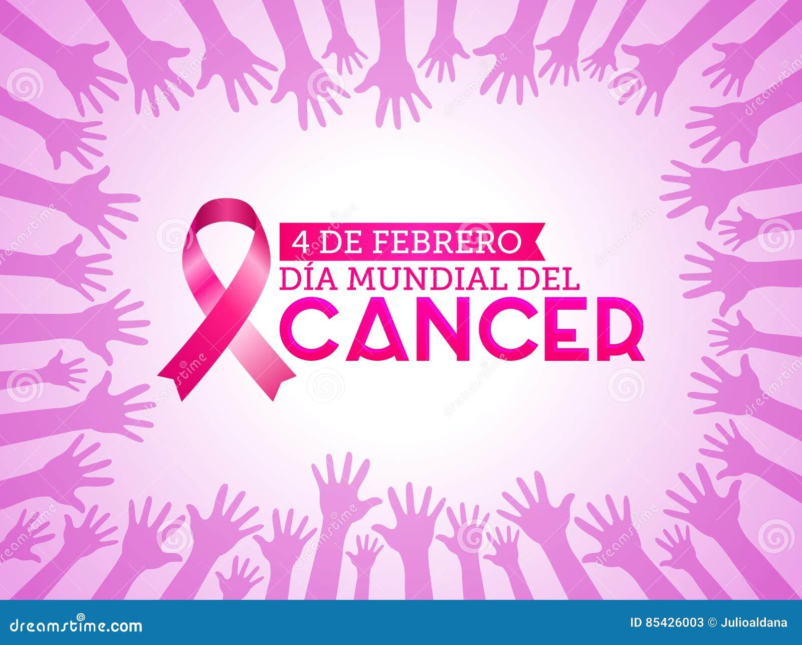 Dia mundial del Cancer - ισπανικό κείμενο στις 4 Φεβρουαρίου ημέρας παγκόσμιου καρκίνου Η ρόδινη κορδέλλα με τα χρώματα δίνει επά