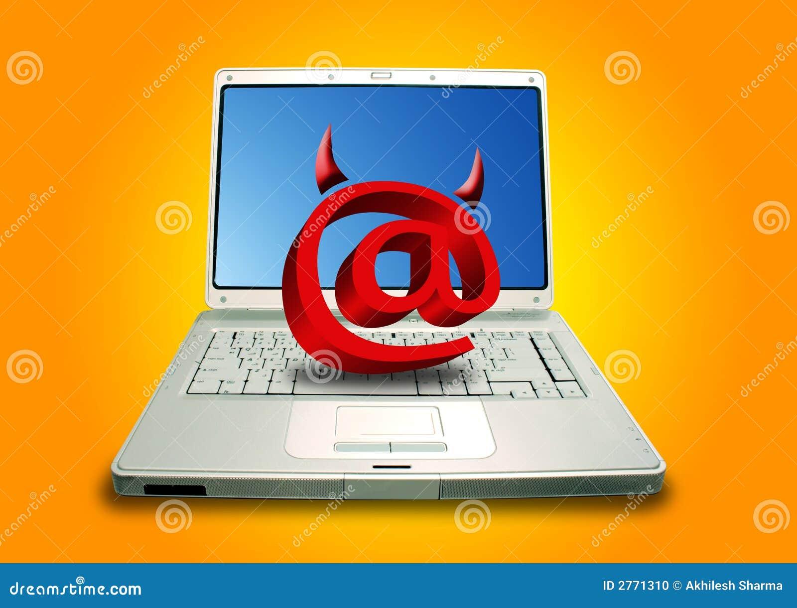 Diabeł laptopa e - mail