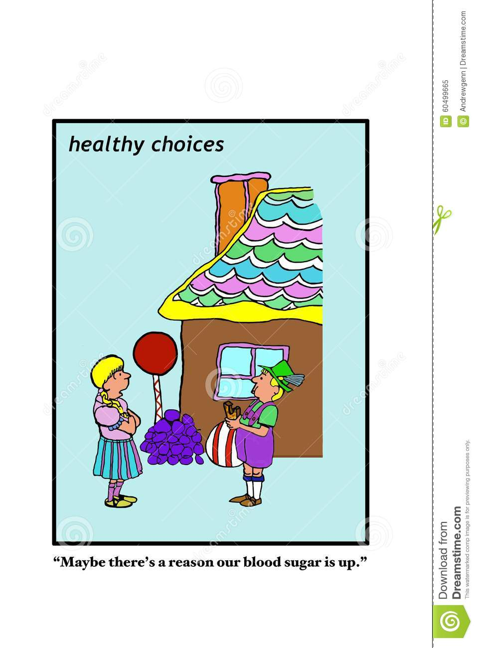 diabetes business medical cartoon healthy choices showing two people gingerbread house maybe there s reason our blood 60499665