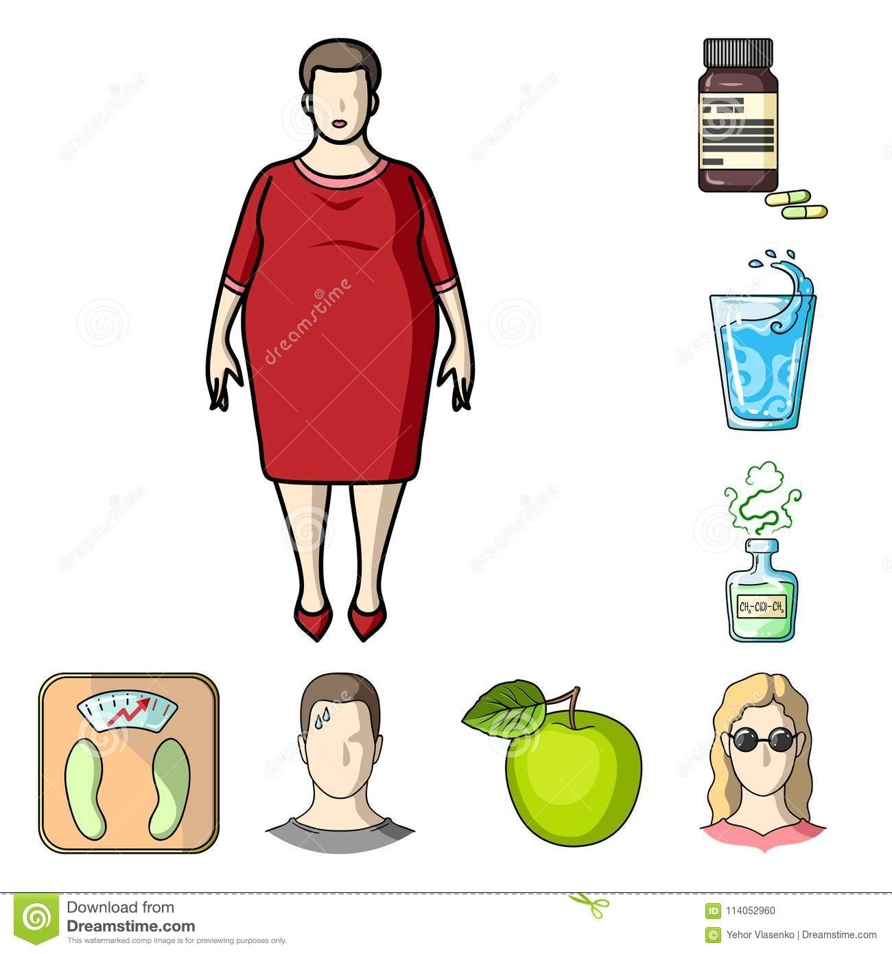 4a4258a2f110e Diabetes cartoon icons in set collection for design. Treatment of diabetes  vector symbol stock illustration.
