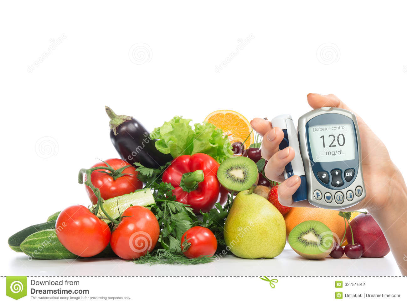 Diabetes concept glucose meter fruits and vegetables stock for Cuisine healthy