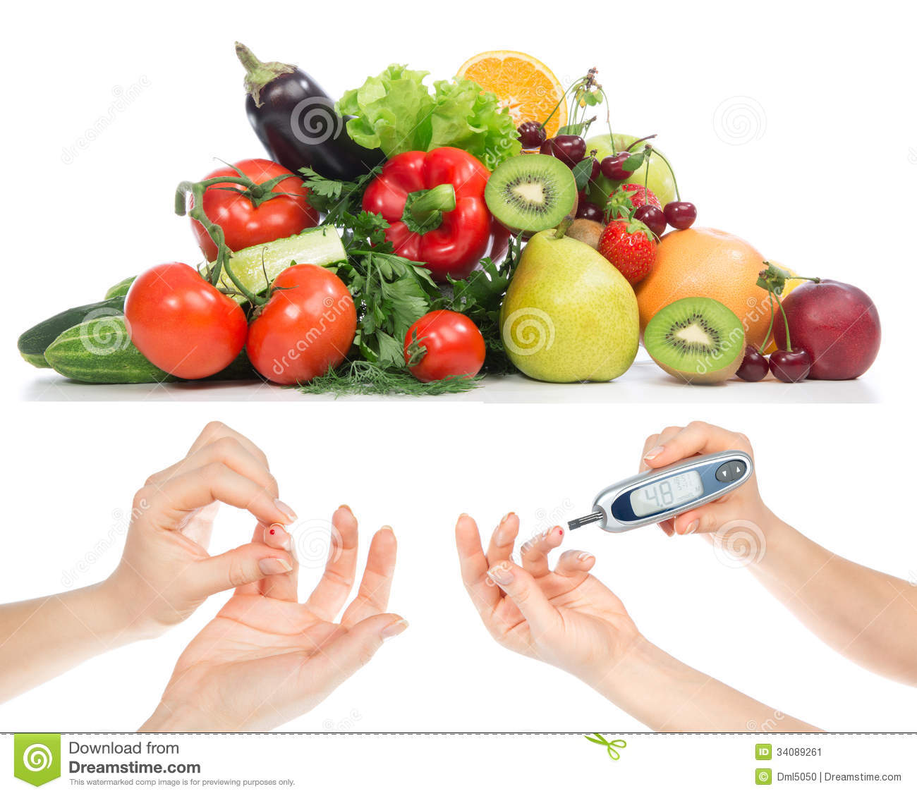 Diabetes Concept Glucose Meter In Hand And Healthy Organic