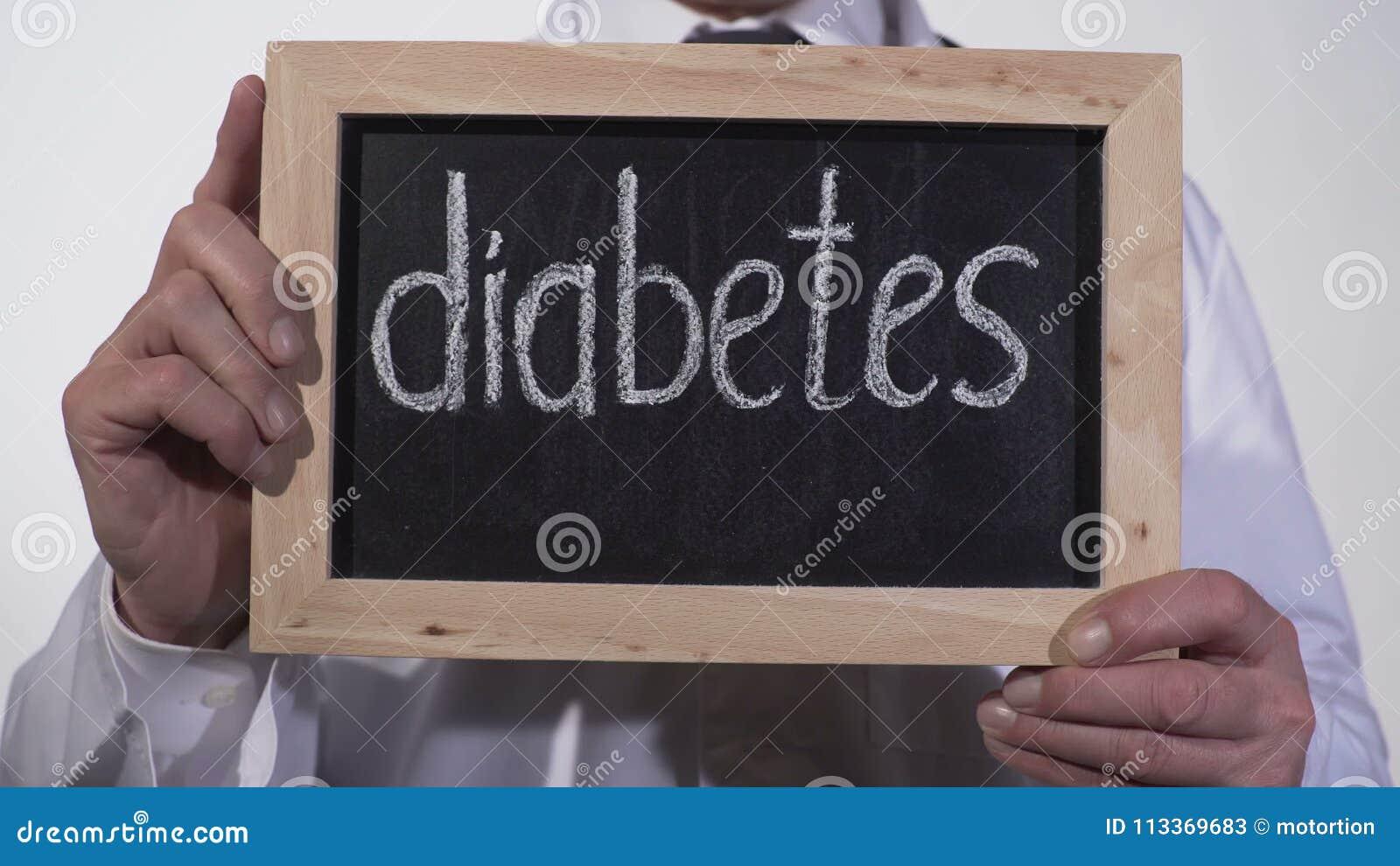Diabetes Escrita En La Pizarra En Manos Del Terapeuta, Alto Problema ...