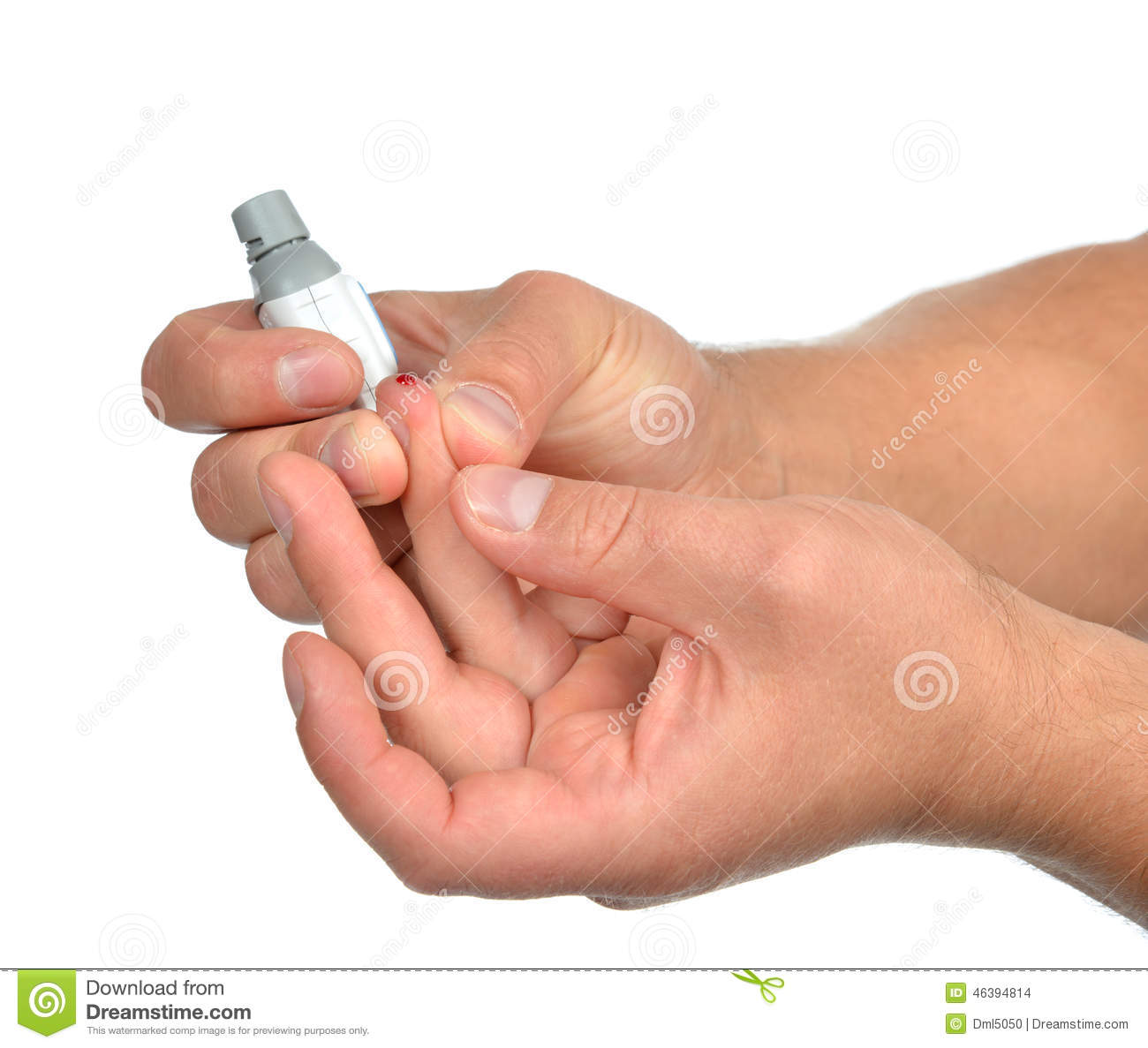 Diabetes Patient Finger To Make Glucose Level Blood Test