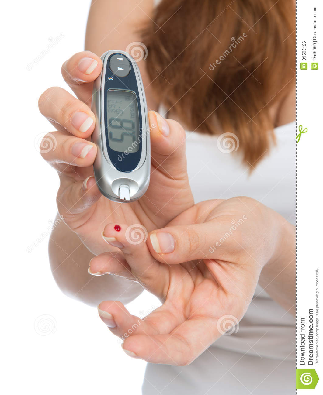 Diabetes patient measuring glucose level blood test with glucometer