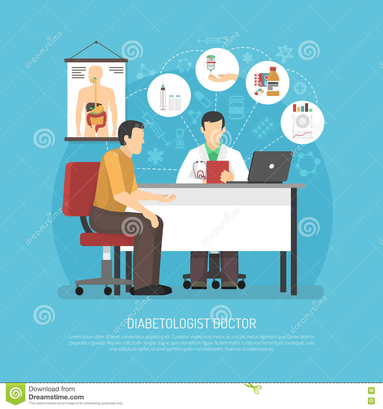 Diabetes Treatment Vector Illustration