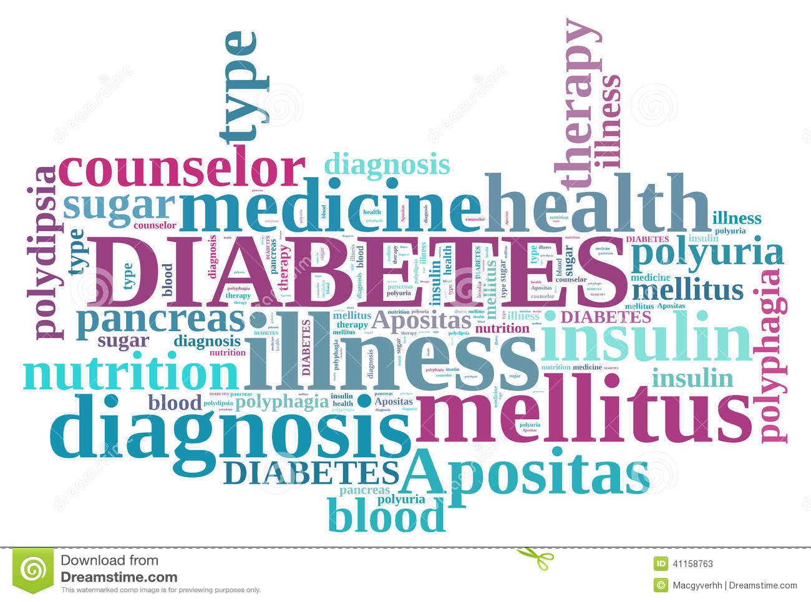 Word: Diabetes Word Cloud Stock Illustration