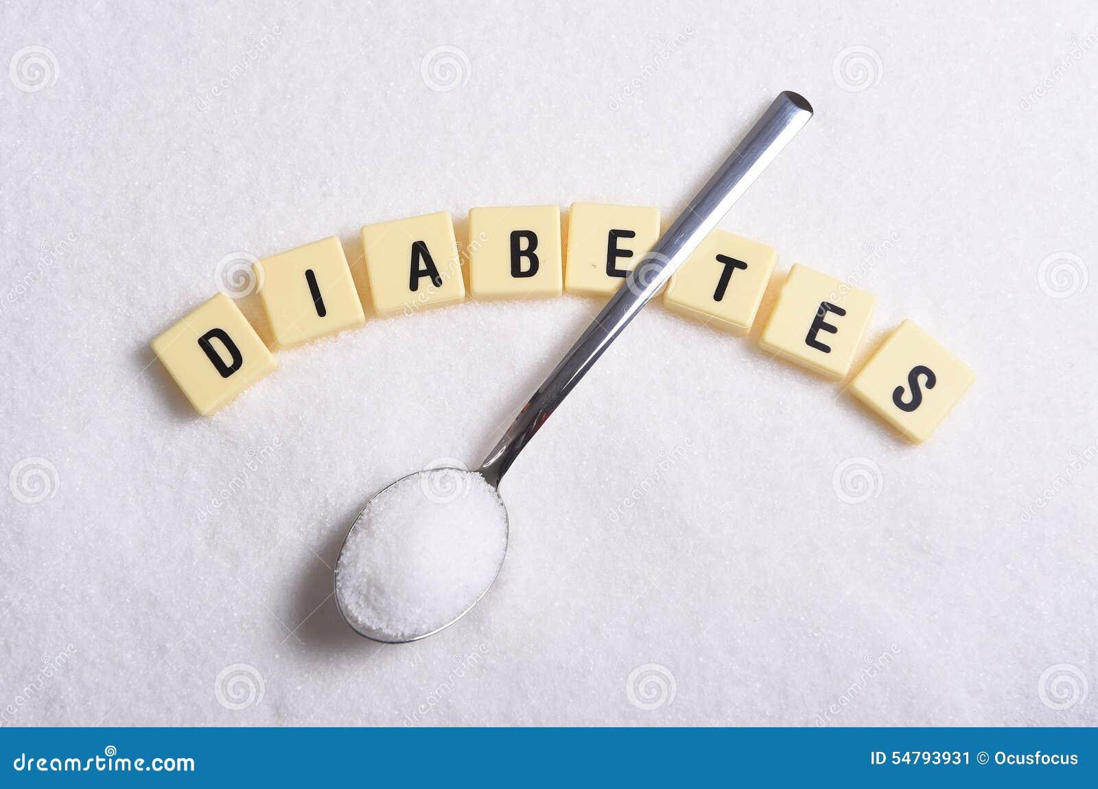 Diabetesblokletters in kruiswoordraadsel en lepel over suikerstapel op korrelige witte suikertextuur wordt geïsoleerd in zoet voe