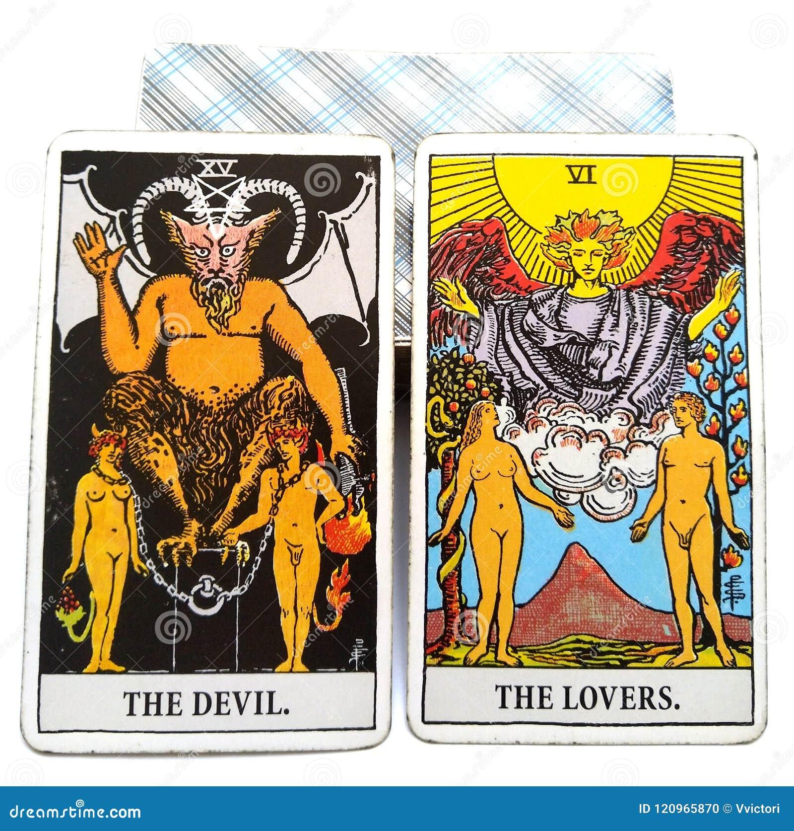 Diable/amants de carte de naissance de tarot