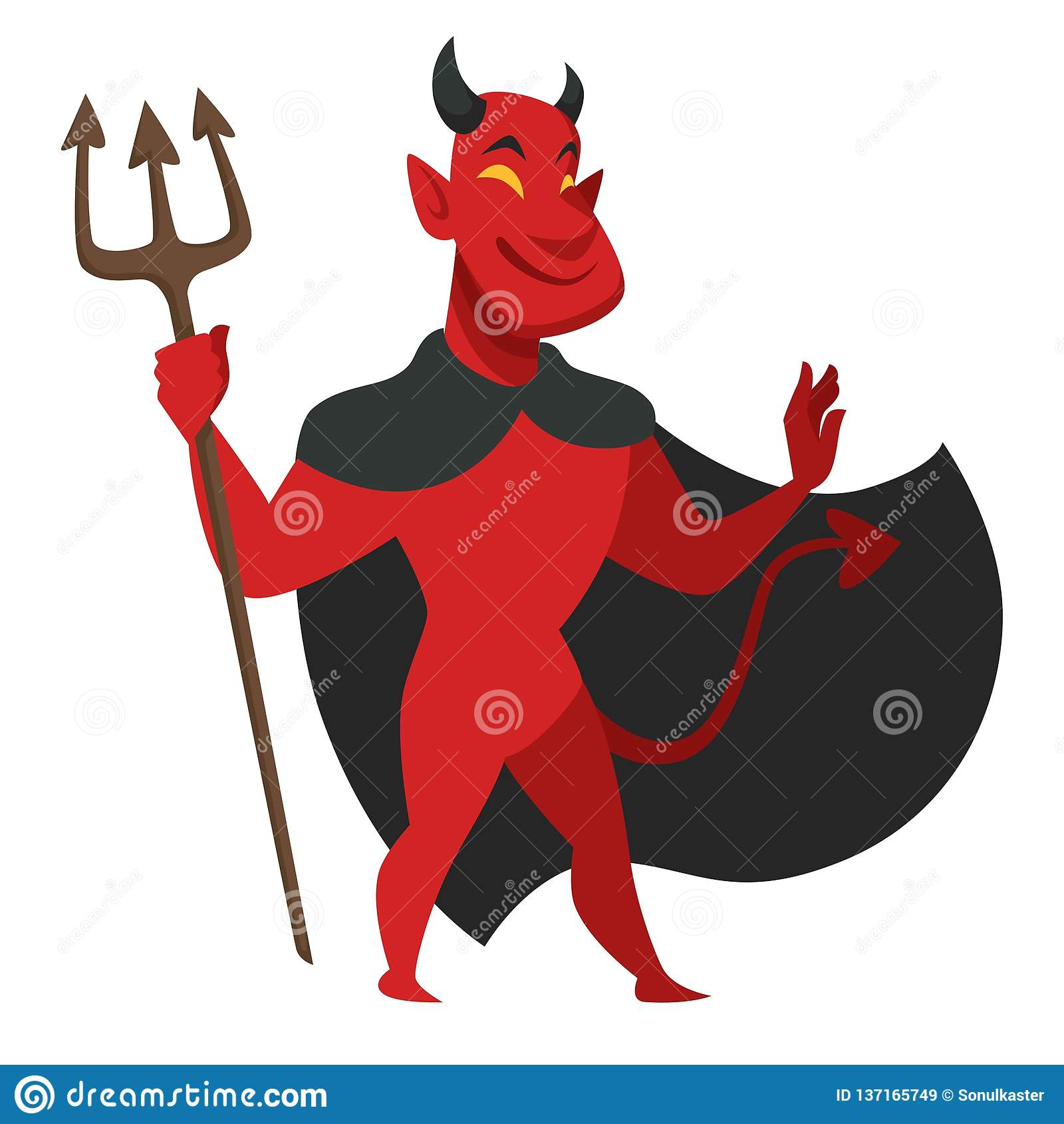 Diable avec le trident dans le caractère mauvais de manteau noir