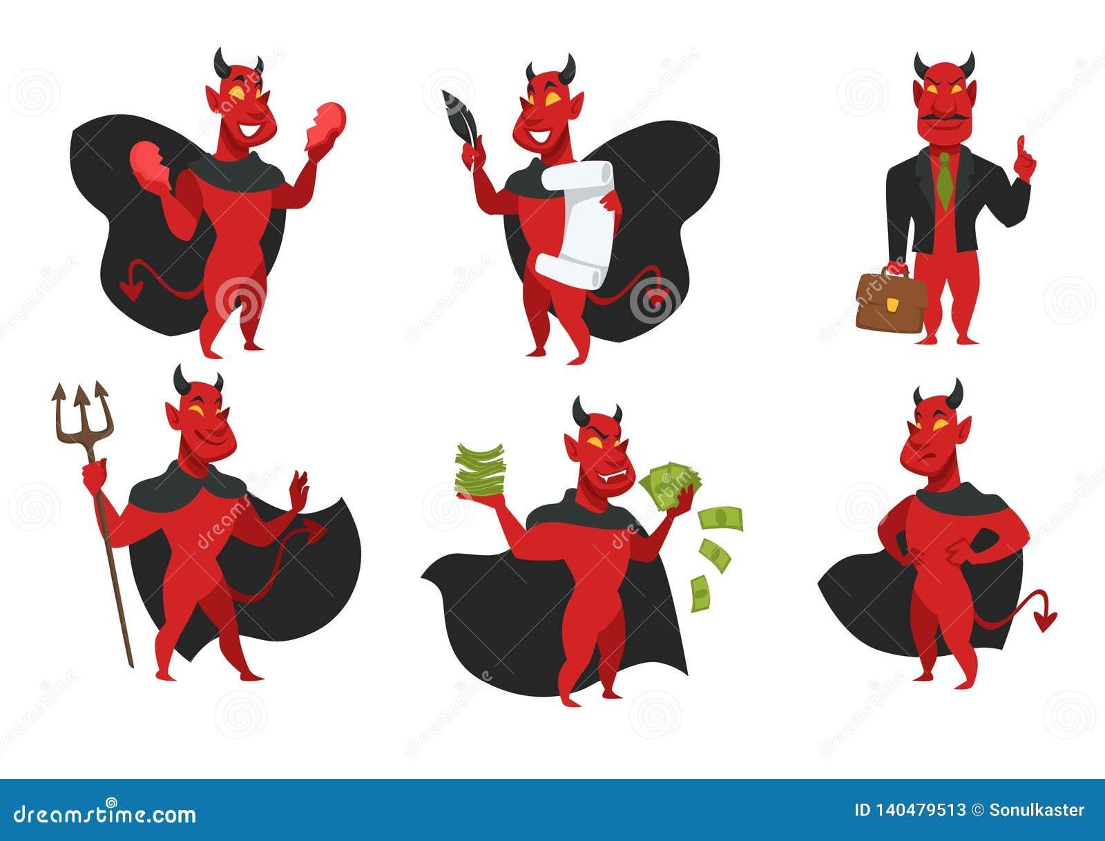 Diablo del infierno del demonio en capa negra con la piel y el tridente rojos