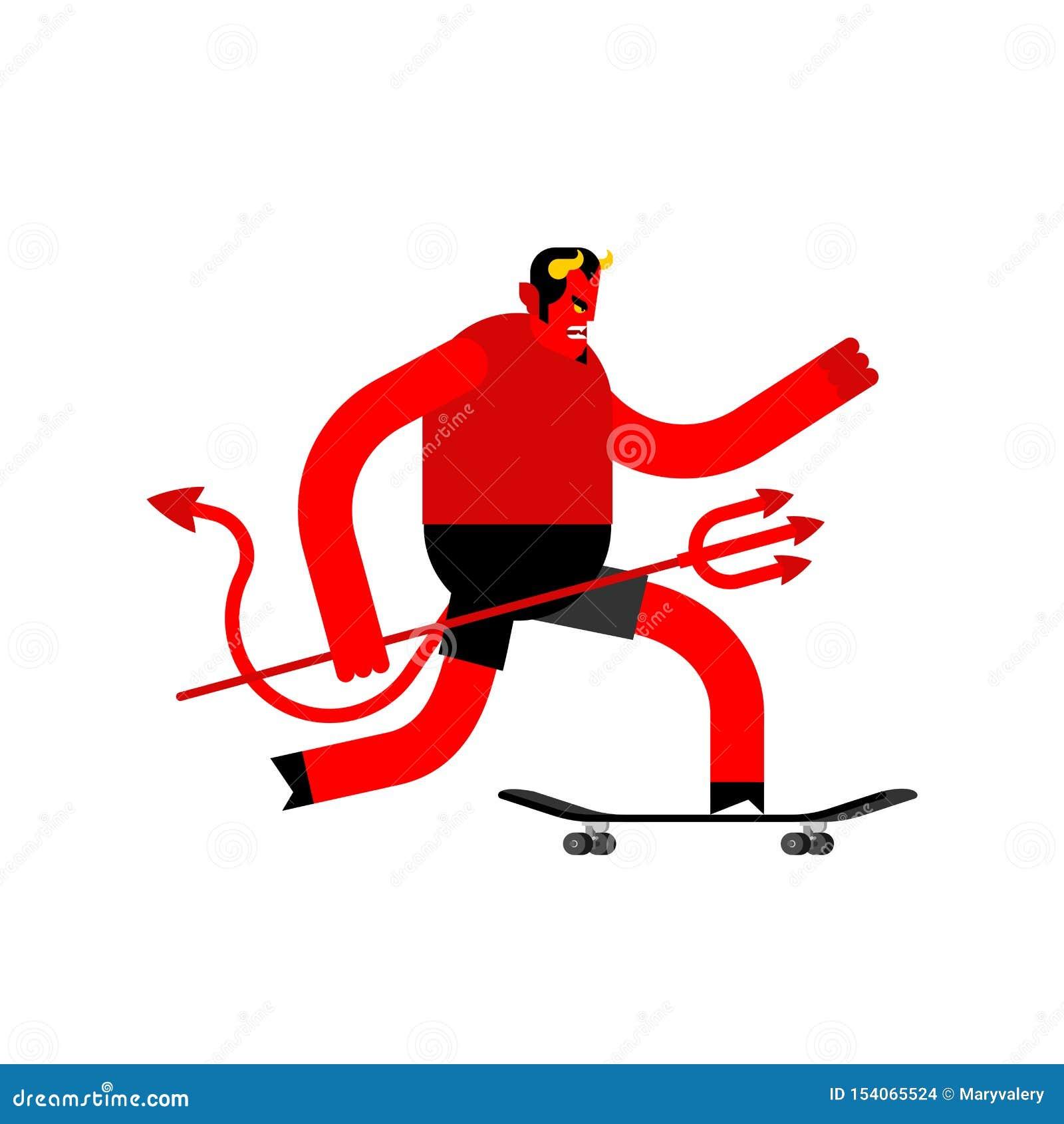 Diablo en el monopatín Satanás en longboard Skater de Lucifer del demonio