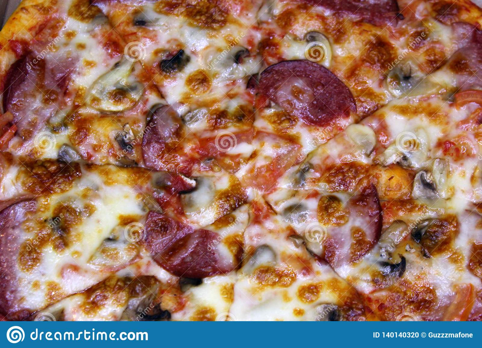 Diablo pizza with spicy sausage top view