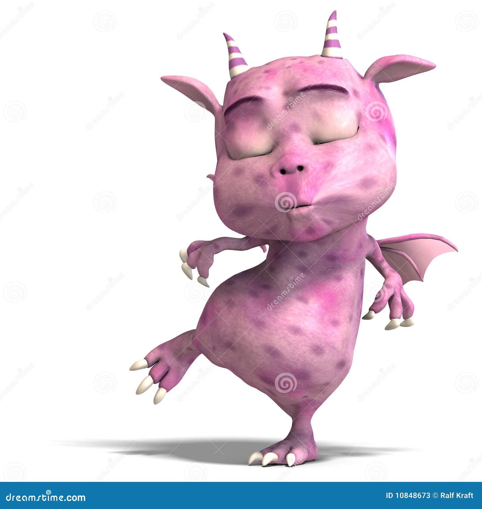 Diabo bonito cor-de-rosa pequeno do dragão de Toon