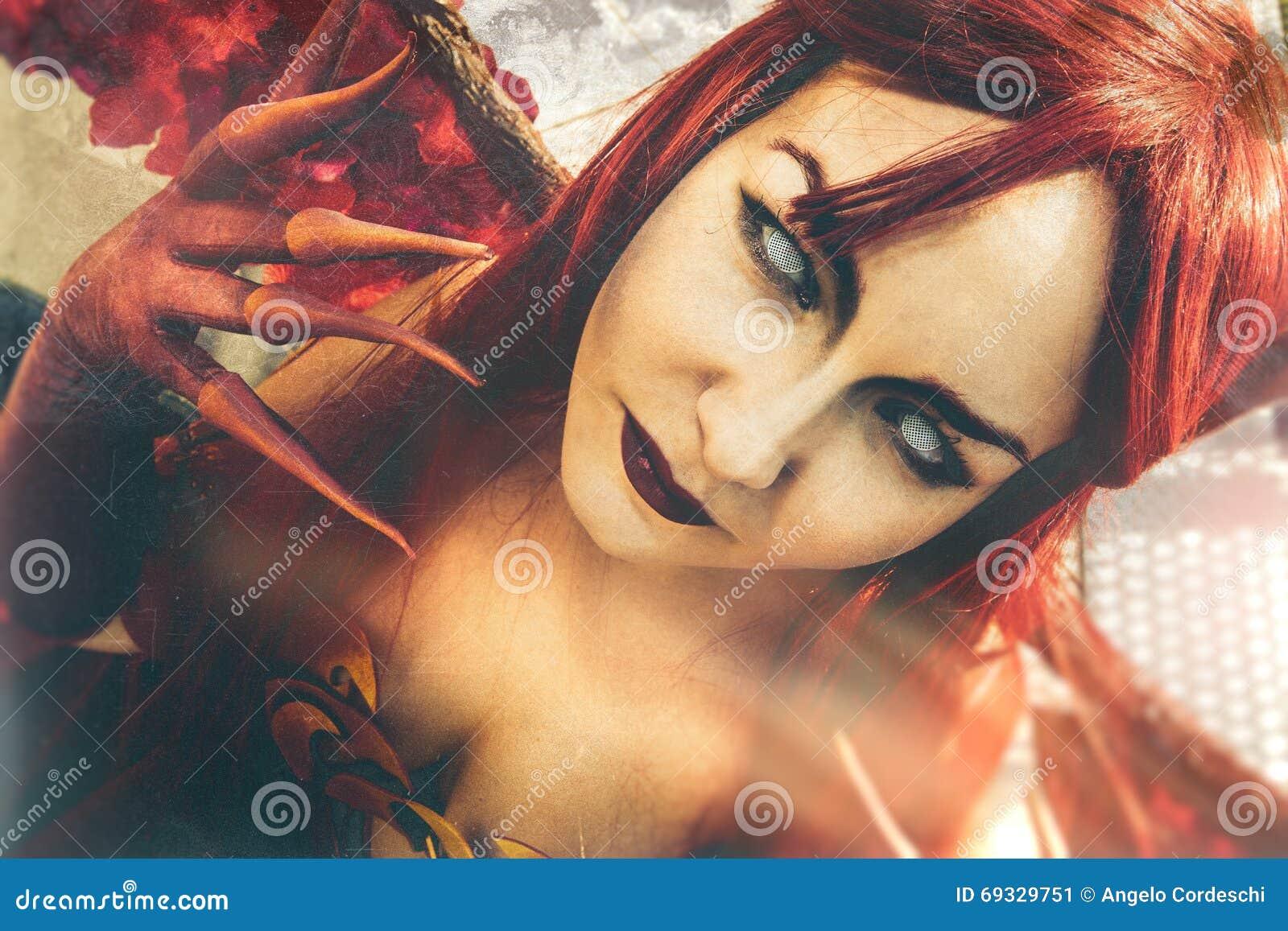 Diabo da arte Retrato próximo do Demoness
