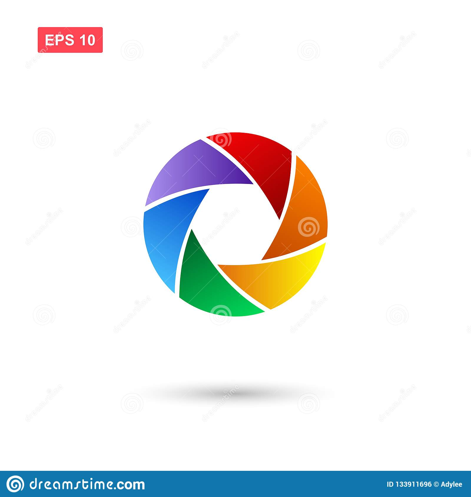Diafragma Or Aperture Vector Icon Isolated With Colors Stock Vector
