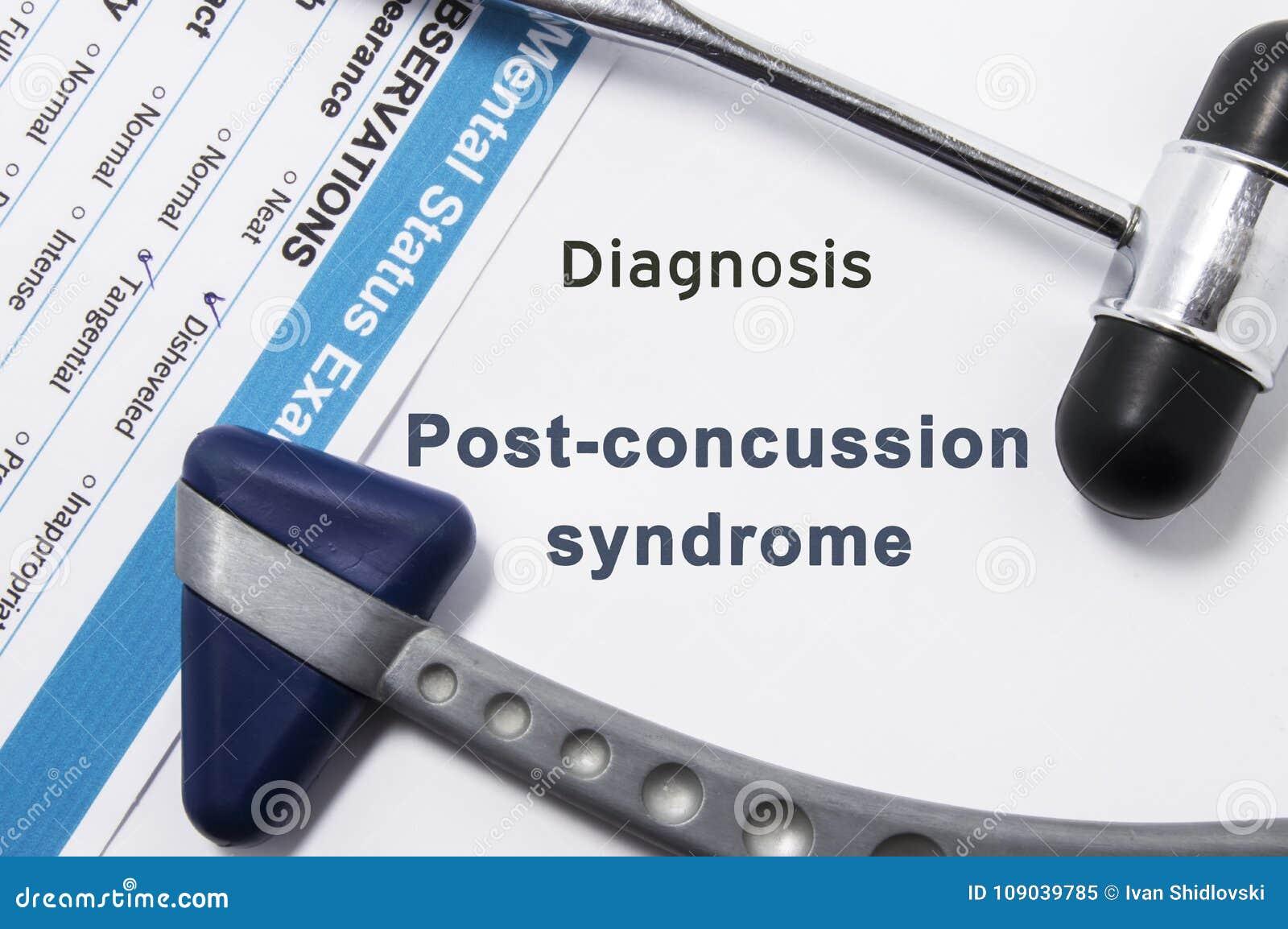 Diagnos av denhjärnskakning syndrommen Två neurological hammare, resultat av mental statusexamen och namn av neurologic psykiatri