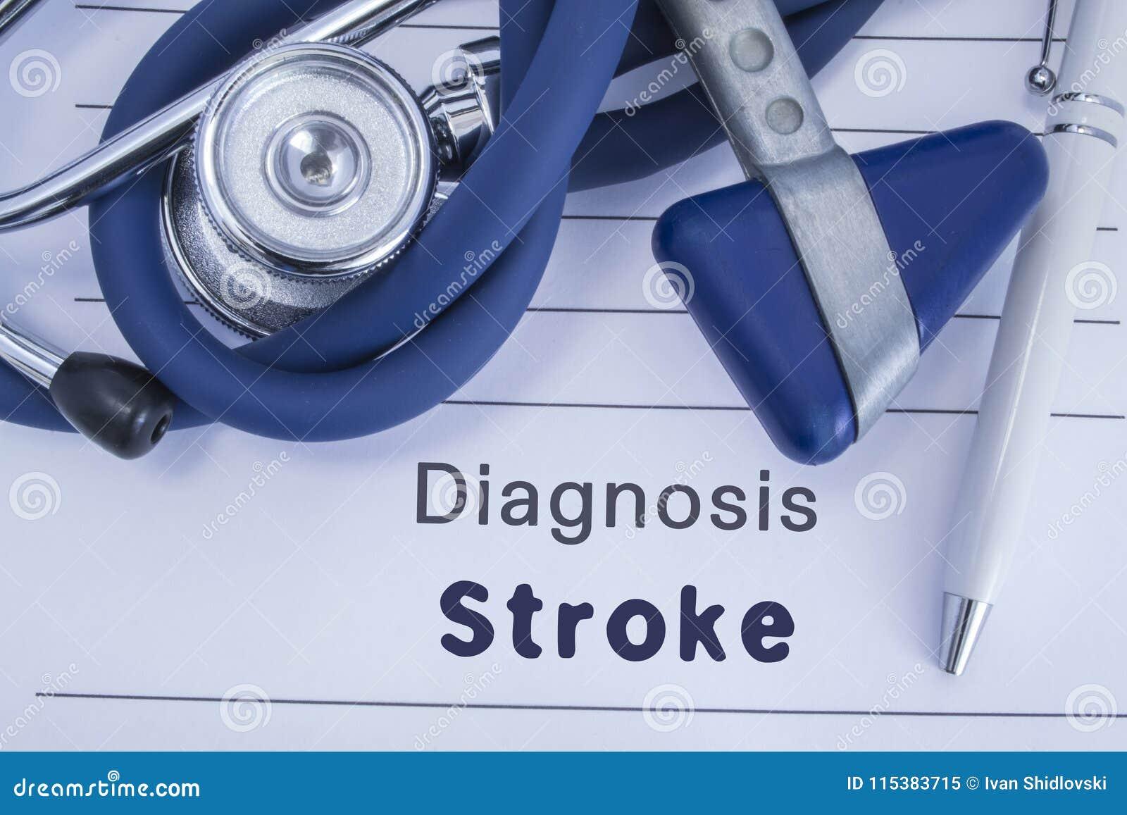 Diagnosen av slaglängden Pappers- medicinsk historia med diagnosen av slaglängden, på som den blåa stetoskopet för lögnen, den ne