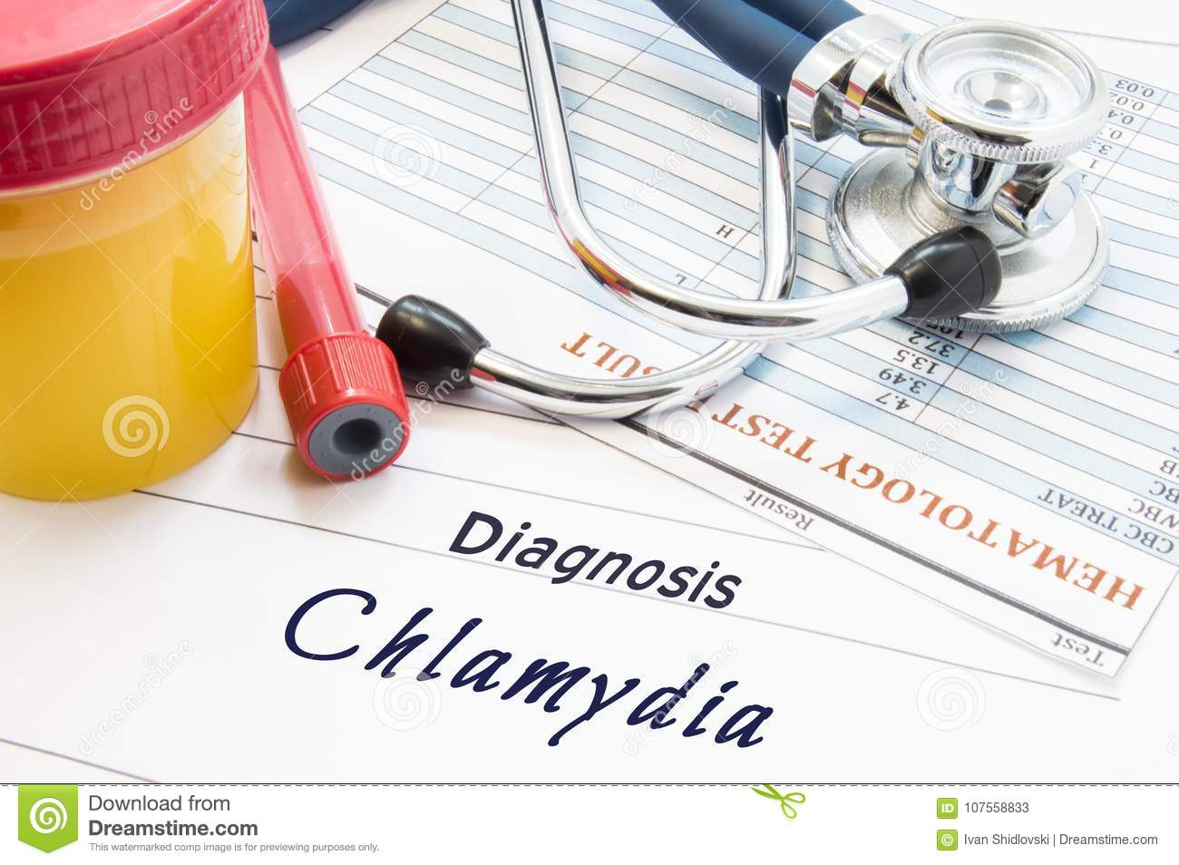 Diagnosis Chlamydia. Stethoscope, lab test tube with blood, container with urine and result of blood laboratory analysis are near