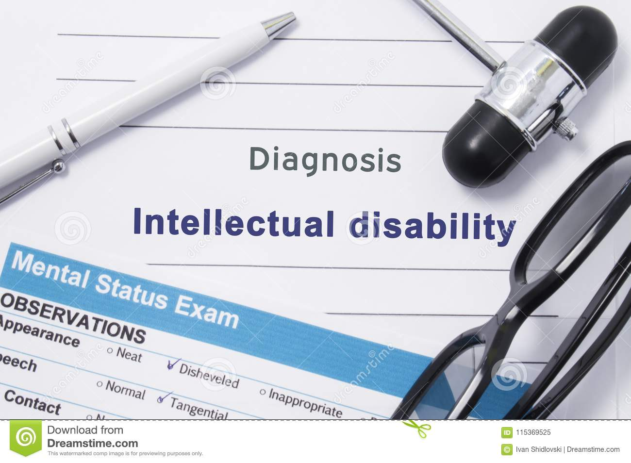 Diagnosis Intellectual Disability  Medical Note Surrounded By
