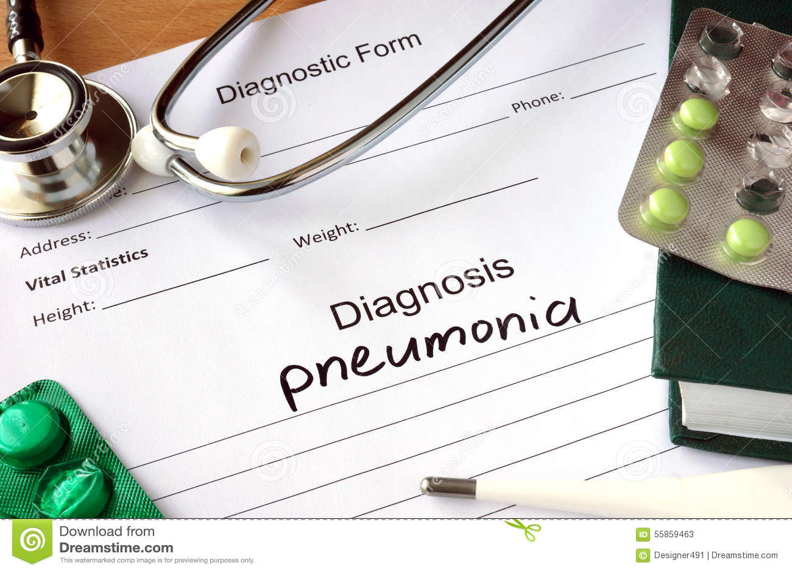 Diagnosis pneumonia and stethoscope.