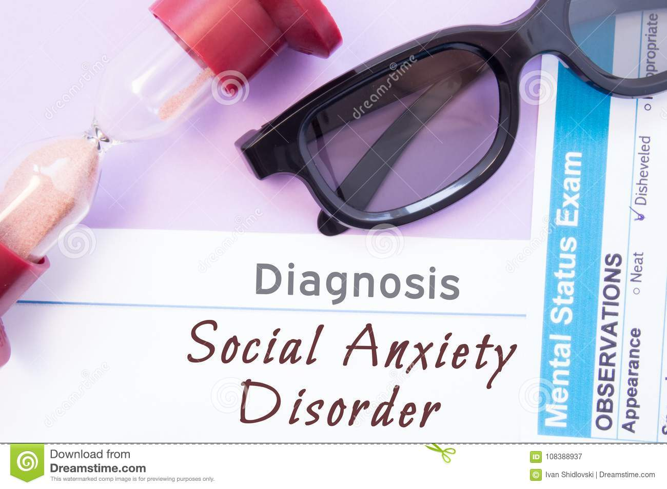 Diagnosis Of Social Anxiety Disorder  Hourglass, Doctor Glasses