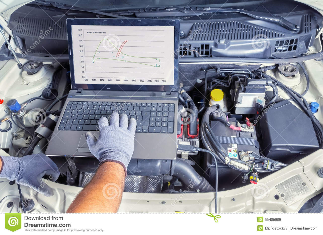 Diagnostic Car Computer Stock Image Image Of Laptop 55485909