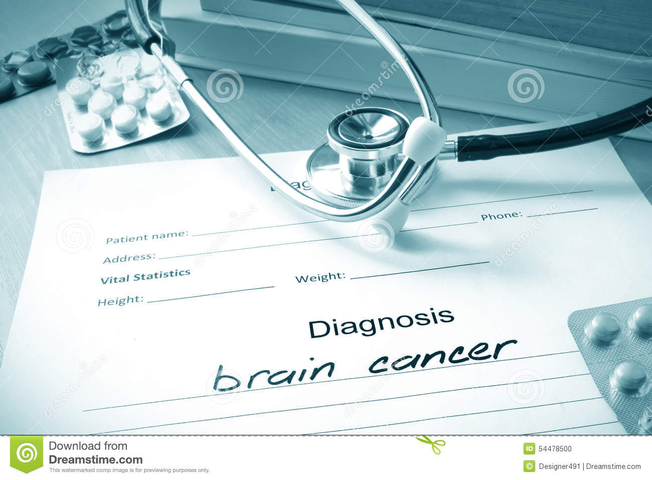 Diagnostic form with diagnosis brain cancer