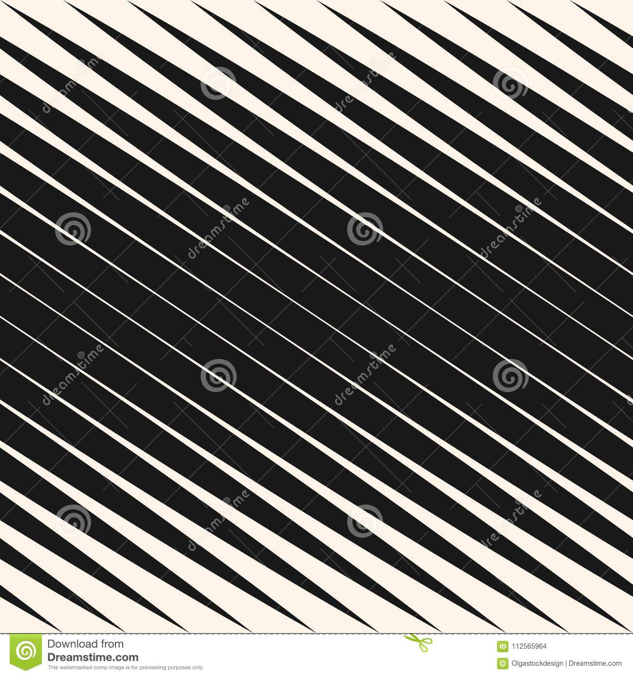 Diagonal halftone stripes seamless pattern, vector slanted parallel lines. Black and white design element