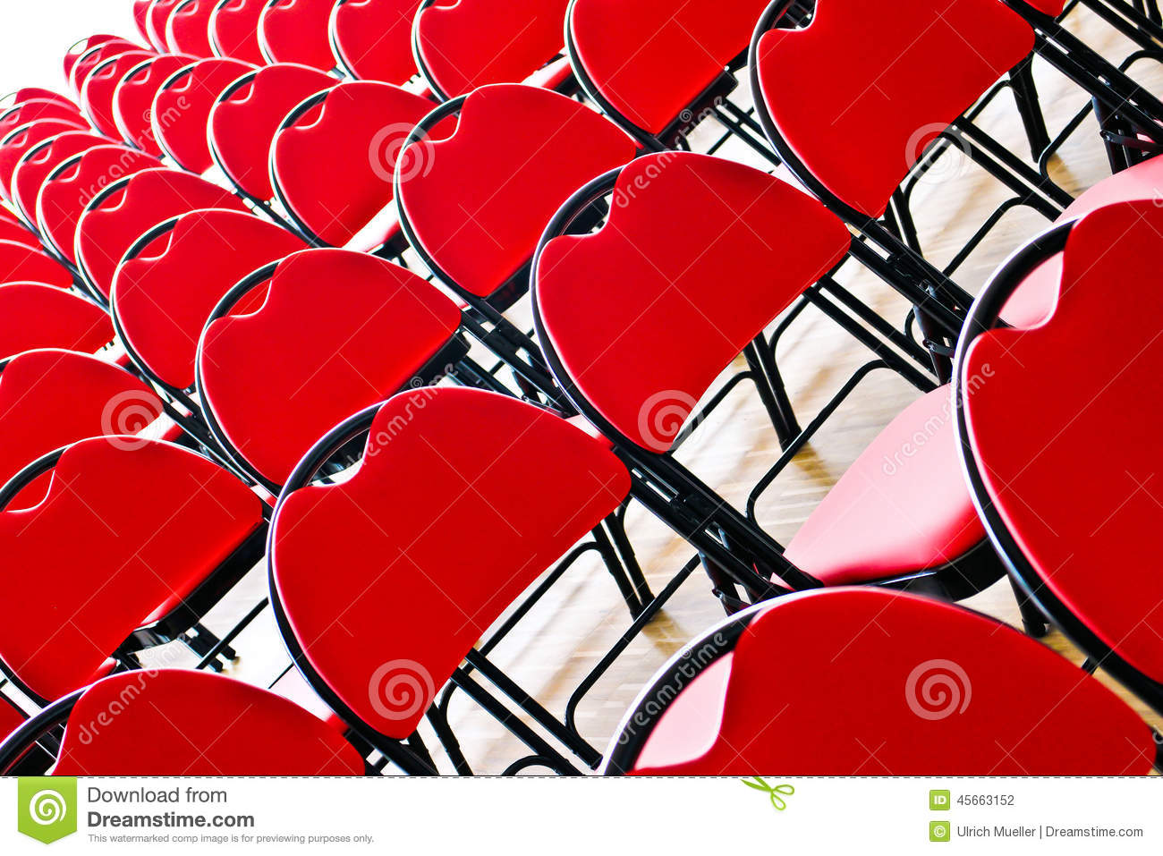 Diagonal Red Chairs Stock Photo - Image: 45663152