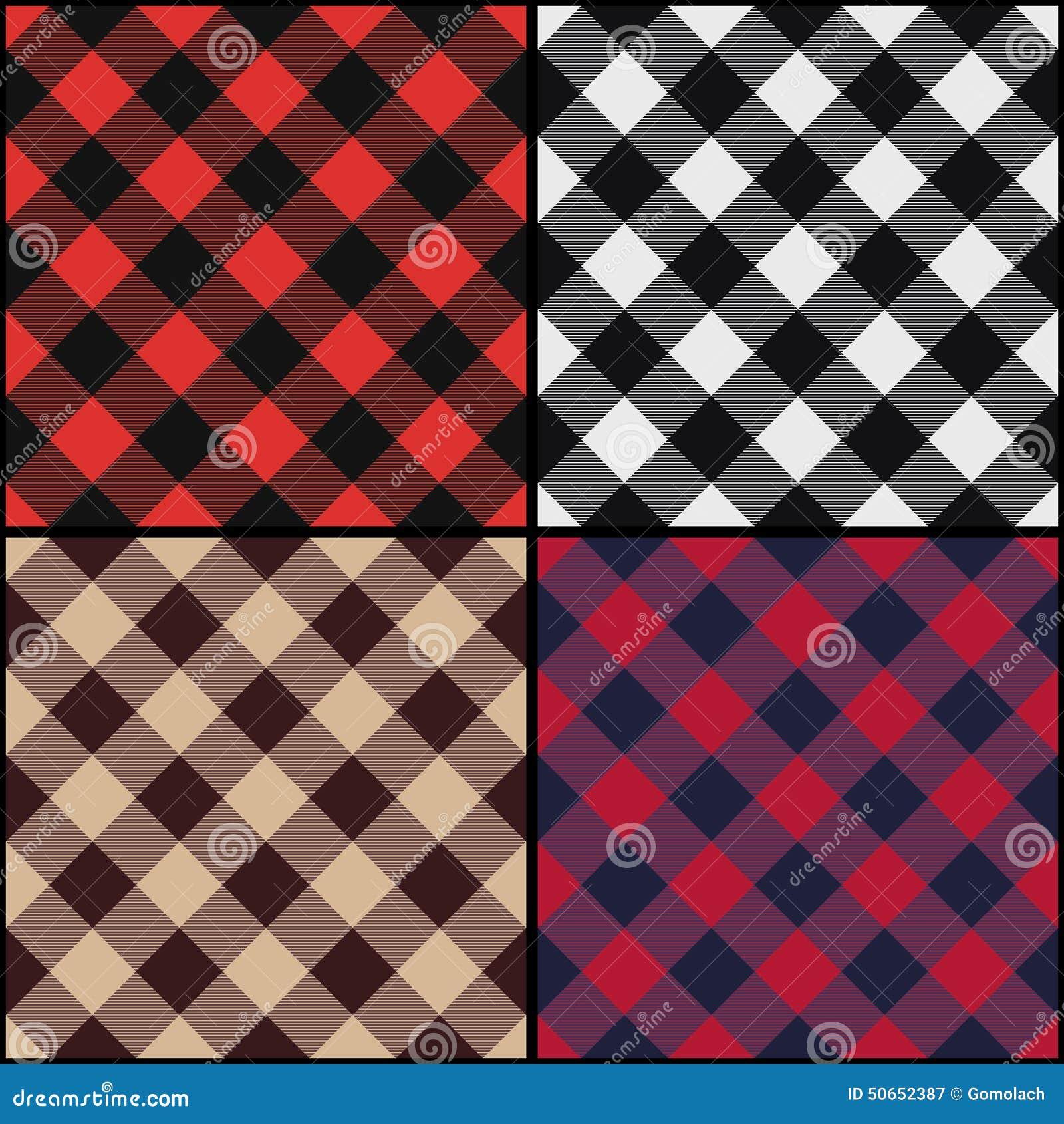 Diagonale naadloze het patroonreeks van de houthakkersplaid