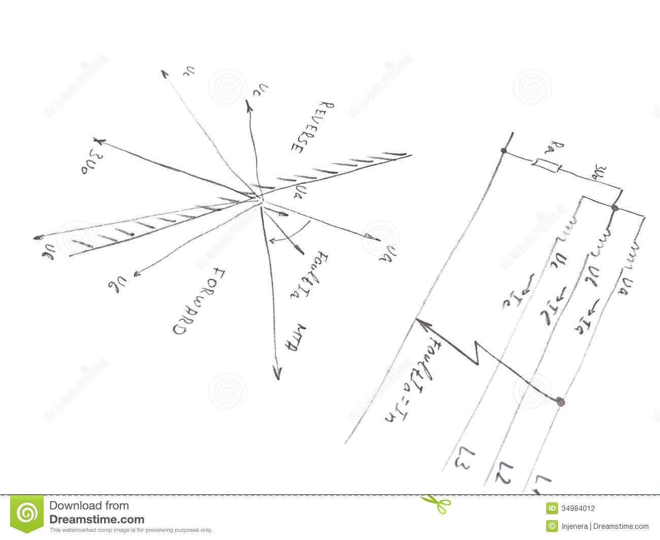 Diagram With Analysis Of Network Short Circuit Stock Photography