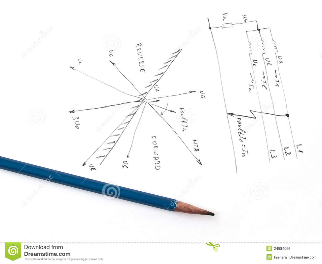 Diagram With Analysis Of Network Short Circuit Stock Illustration
