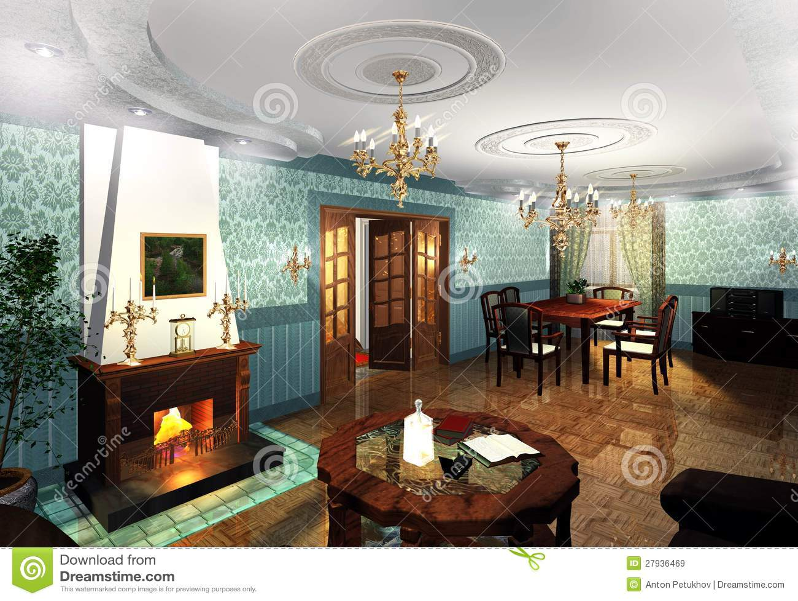 Diagram av den inomhus lyxiga dekoren royaltyfria bilder   bild ...