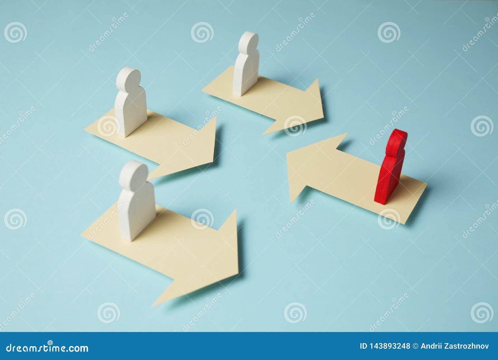Diagram av folk och pilar, konfrontation i aff?ren, anstr?ngning f?r framg?ng