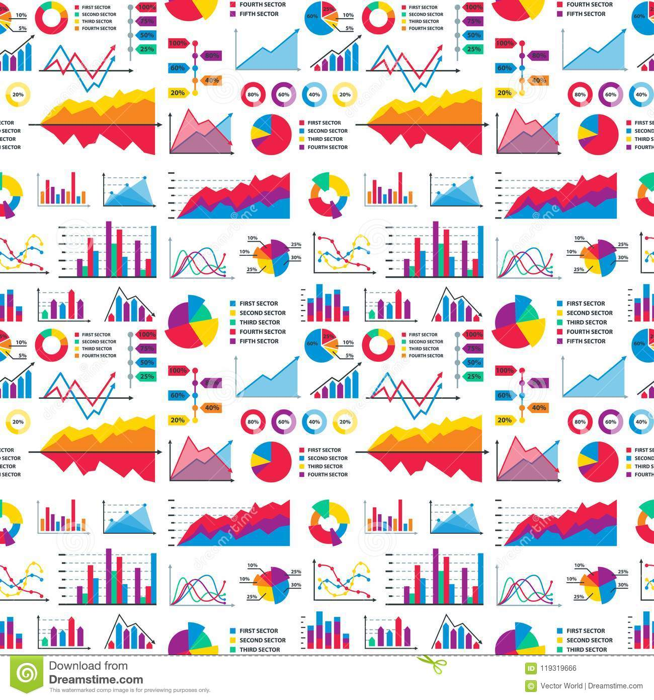 Diagram chart graph elements vector business infographic flow sheet data template arrows and circle progress