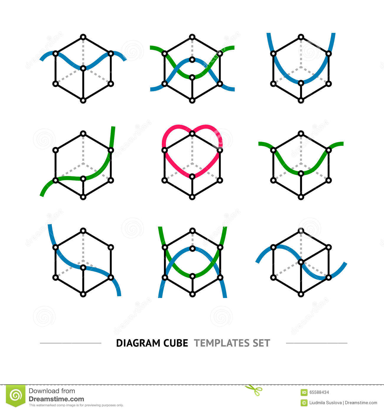 Diagram Cube Logo Set Stock Vector  Illustration Of
