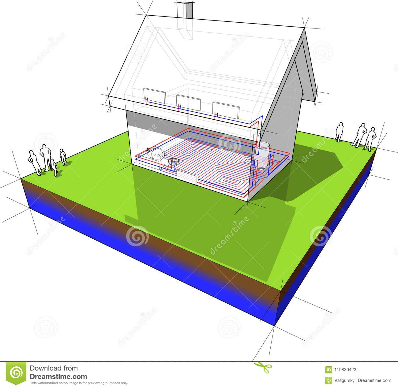 Diagram Of A Detached House With Floor Heating And Radiators Stock Vector