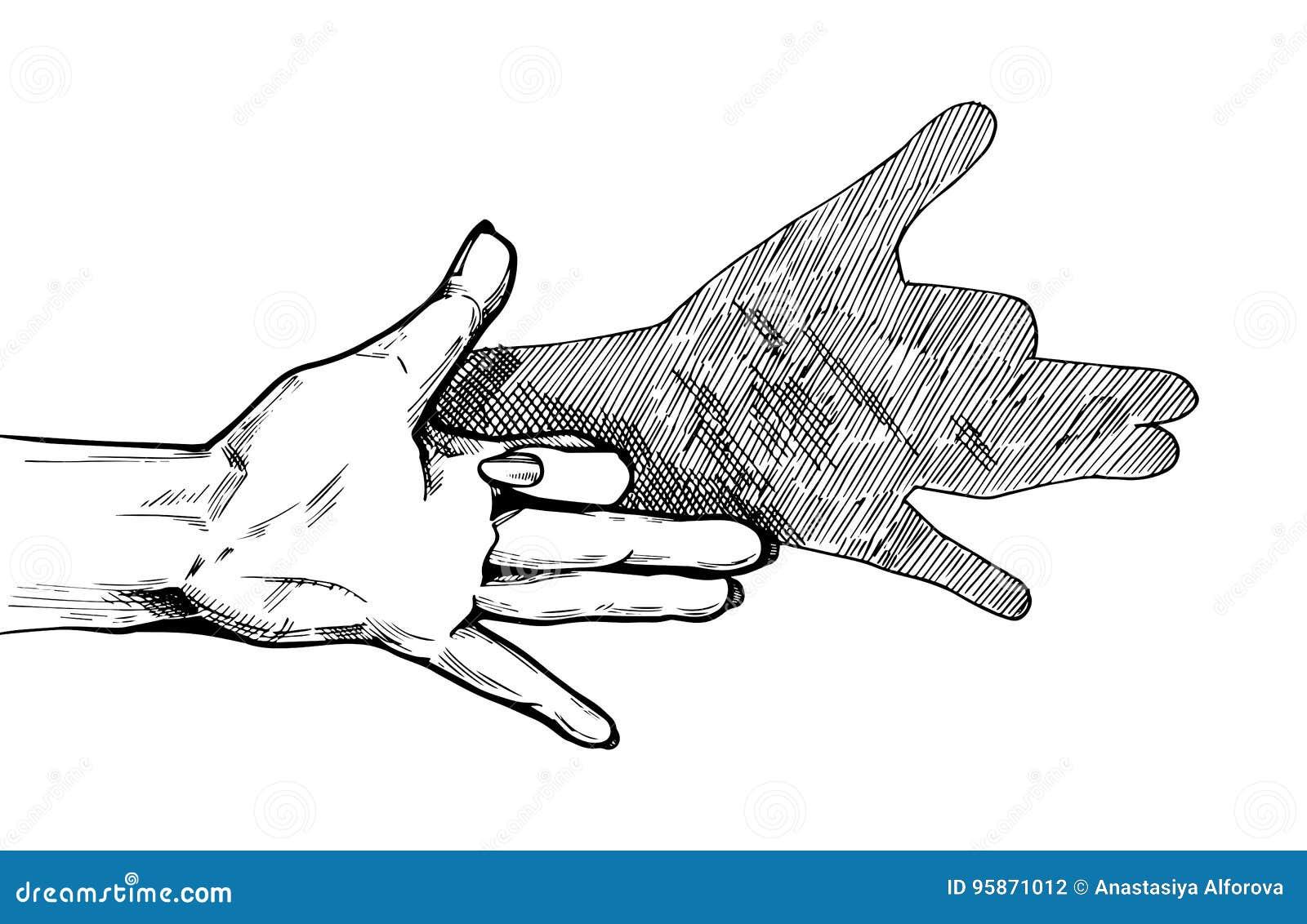 Diagram för docka för hundskuggahand