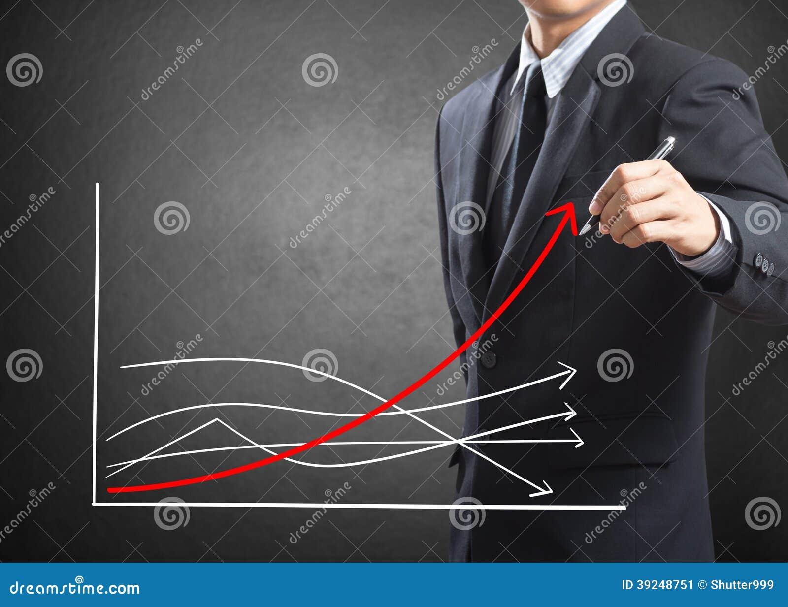 Diagram för tillväxt för teckning för affärsman