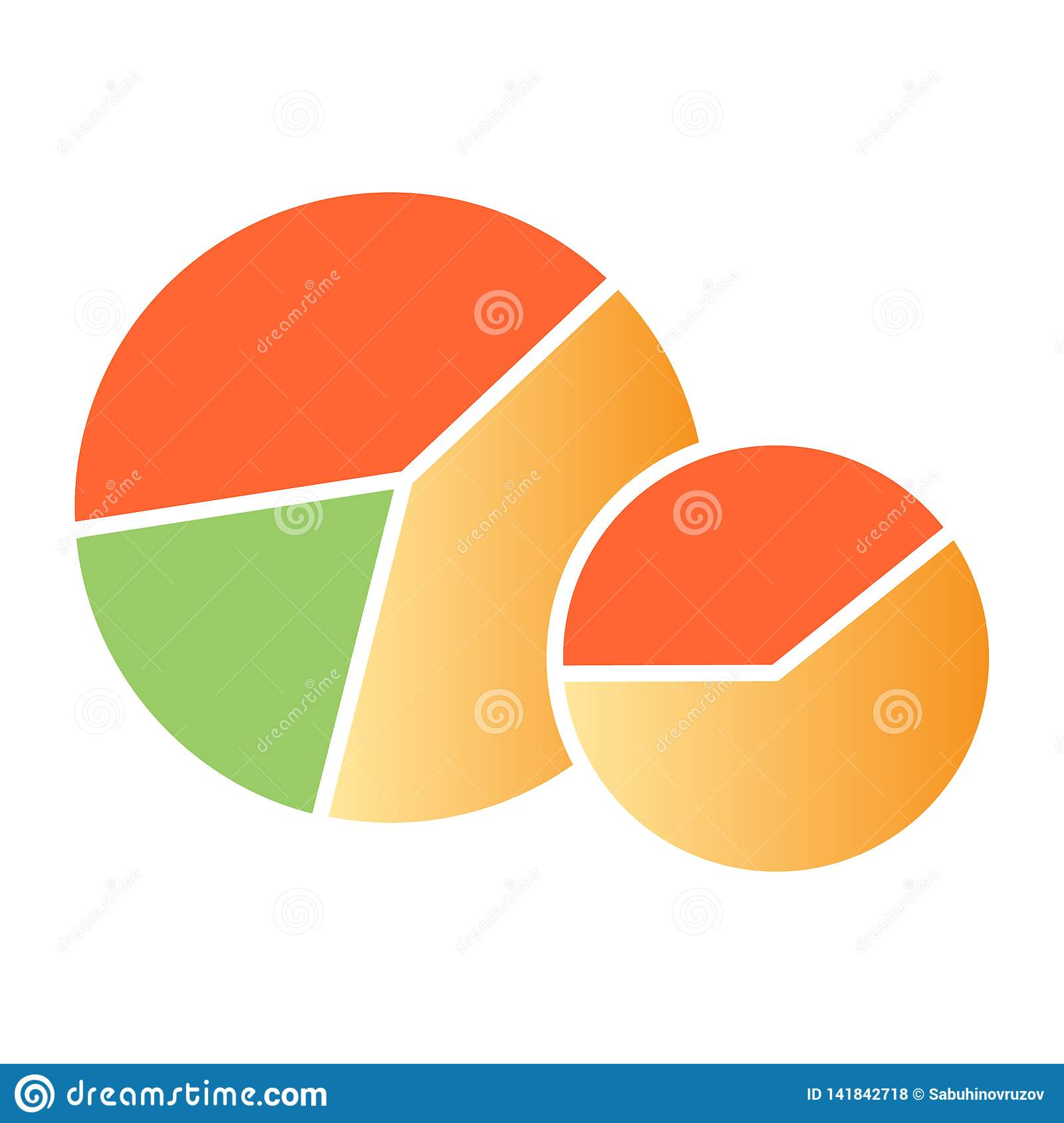 Diagram flat icon. Circle graph color icons in trendy flat style. Pie chart gradient style design, designed for web and
